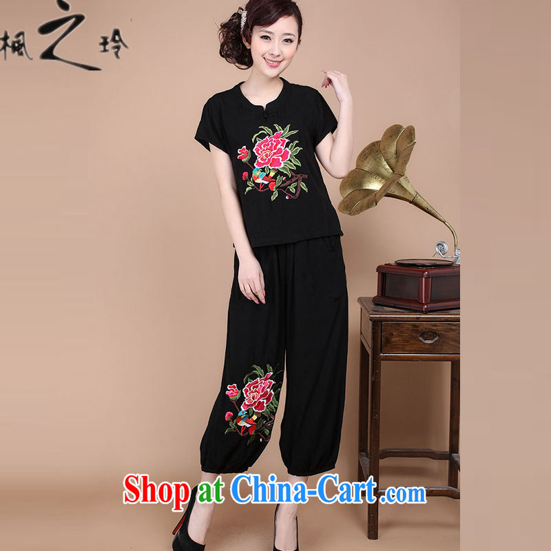 2015 summer new loose the Code, older women cotton embroidered Chinese T-shirt pants two-piece to sell black XXXL