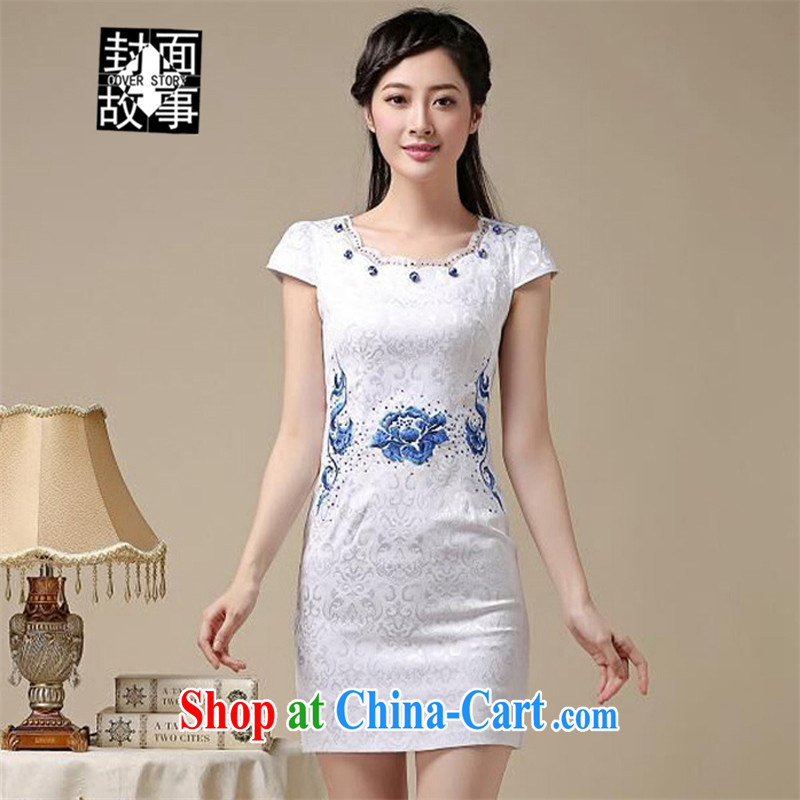 Cover Story 2015 summer New Beauty video thin, long, short-sleeved dresses retro art China wind flower embroidery cheongsam white orchids XXL