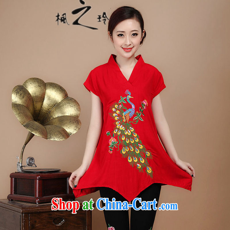 2015 summer new loose the Code, older women with cotton embroidery, Long Tang Replace T-shirt pants sell multi-color optional red T-shirt?XL