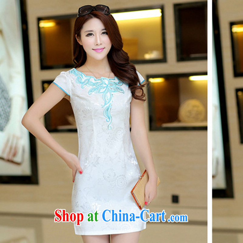 Arrogant season 2015 spring new beauty video thin dresses package and further skirt dress cheongsam white XL