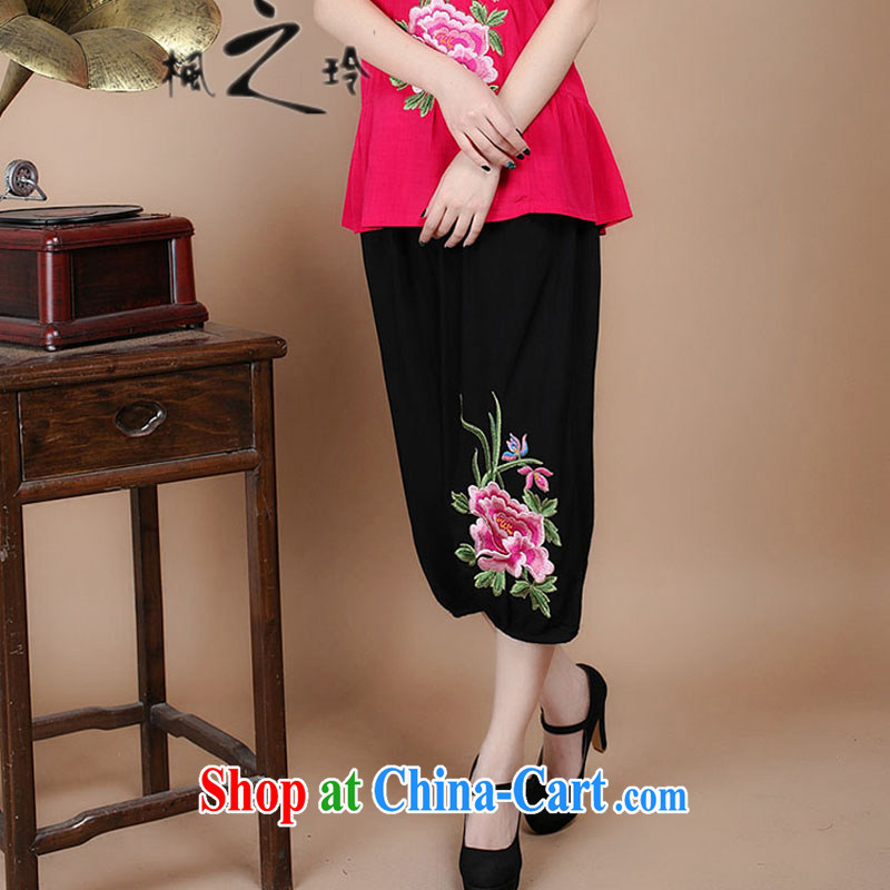 2015 summer new cotton embroidered loose the Code, older women with short pants Sell More Options 061 pants XXXL