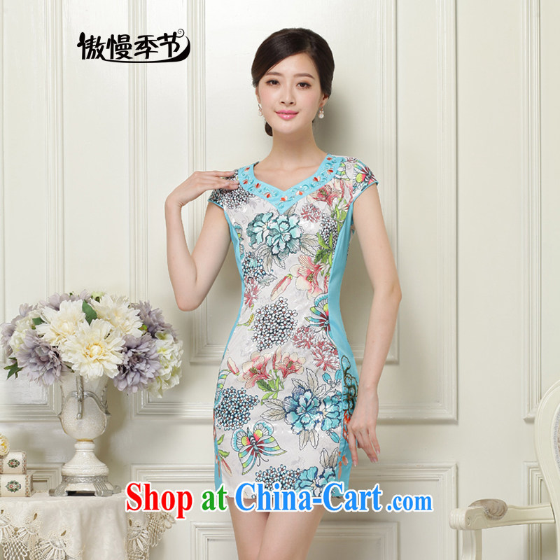 Arrogant season 2015 new summer fashion improved cheongsam dress, spring and autumn aura daily video thin beauty green XXL