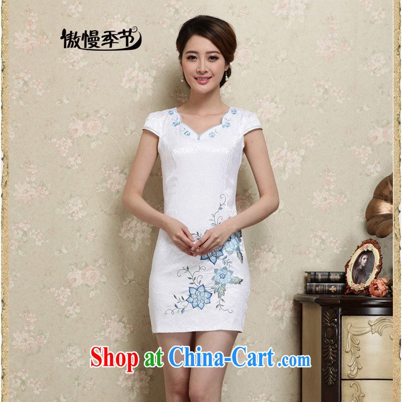 Arrogant season 2015 summer and autumn new female dresses retro beauty improvement Ms. stylish everyday embroidery dresses female blue XXL