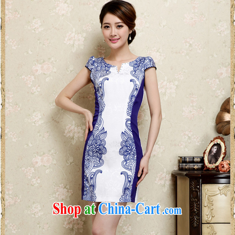 Arrogant season 2015 summer cotton stylish improved temperament dresses retro blue and white porcelain beauty stamp V collar dresses blue XXL