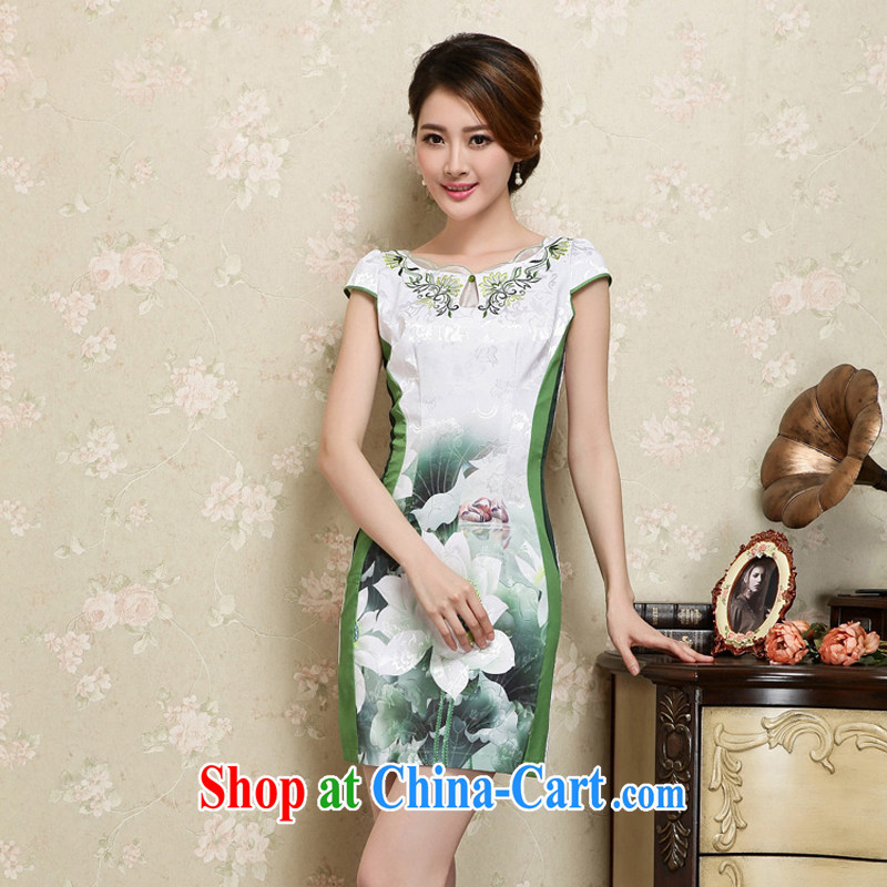 Arrogant season 2015 Spring Summer dress retro fashion improved Chinese Dress daily short dresses female Green XXL