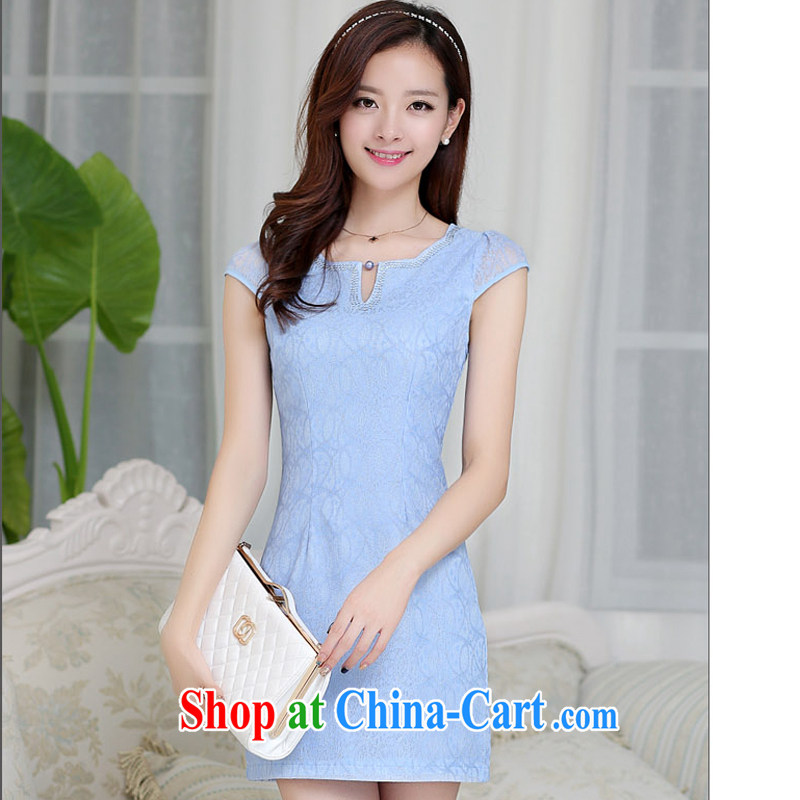 Arrogant season 2015 dresses, long, short wave with short-sleeved beauty retro improved cheongsam dress Spring Summer China wind embroidered blue XXL