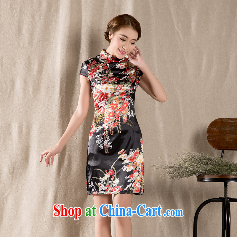 Won the 2015 new spring and summer short-sleeved Tang with improved cheongsam retro China wind girls dresses wine red XL