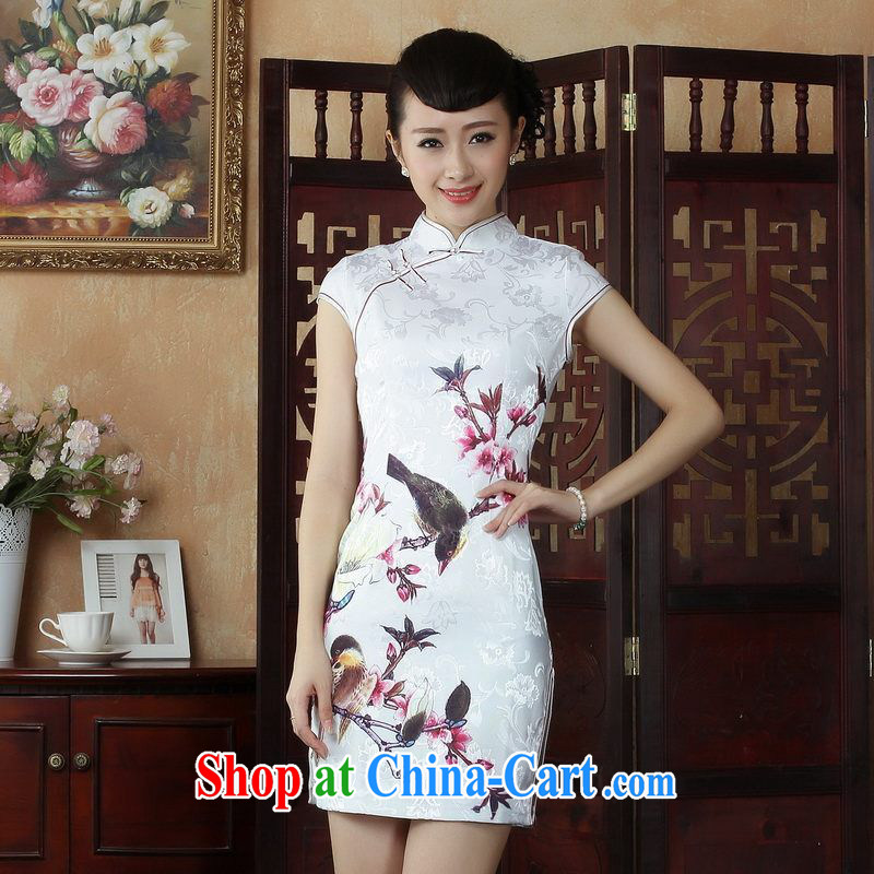 Yet, Ms. Floor Chinese cheongsam dress summer Chinese improved short cheongsam dress picture color 2 XL