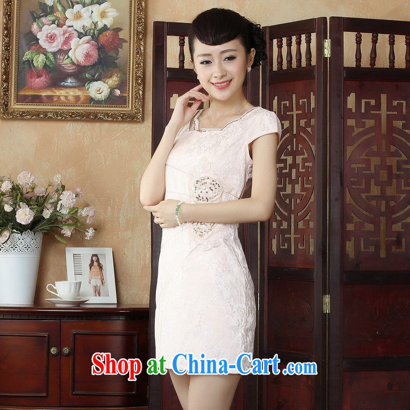 Property is property, Ms. Tang cheongsam with lace cheongsam dress stylish daily short cheongsam dress dress picture color 2 XL