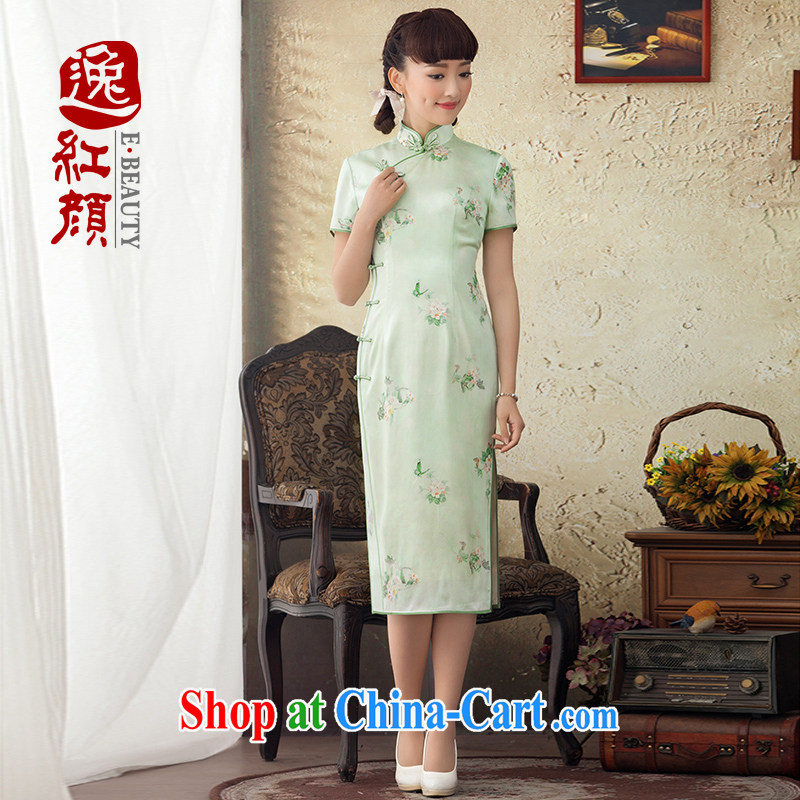 once and for all, without fatally jealous, Hong Kong long Silk Cheongsam stamp duty improved sauna silk new spring and summer dresses skirts daily green M