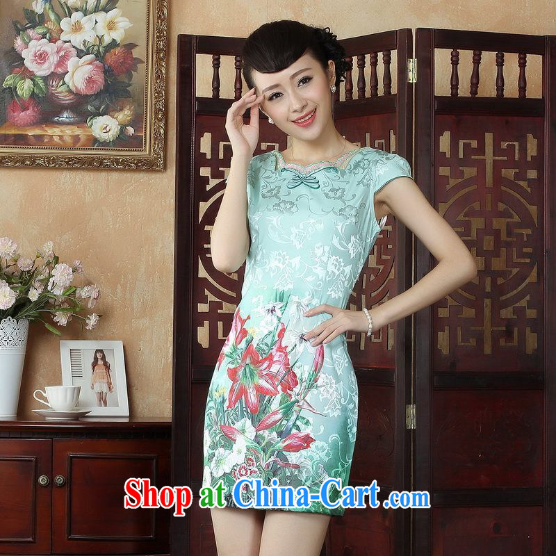 Property is still property, Ms. Tang cheongsam dress with a dress or skirt summer improved national wind antique stamp cheongsam dress dress picture color XL, the property is still property, shopping on the Internet