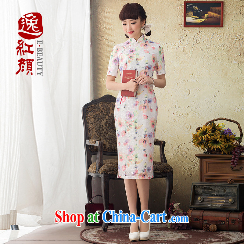 once and for all and fatally jealous butterfly Yuk Long cheongsam stamp duty improved 2015 spring and summer new daily fashion cheongsam dress retro floral S