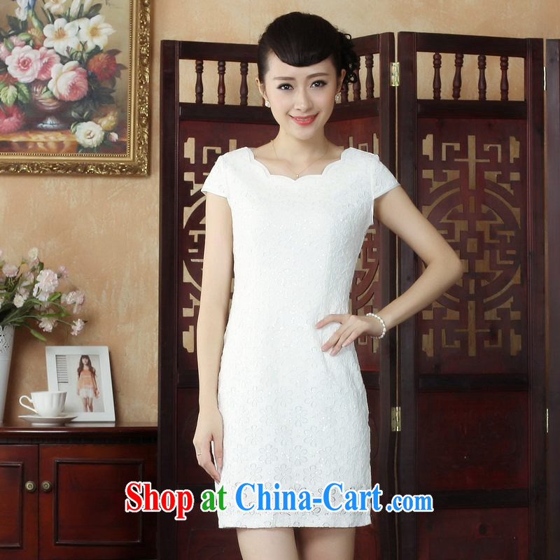 Property is property, Ms. Tang cheongsam with lace cheongsam dress stylish daily short cheongsam dress, picture color 2 XL