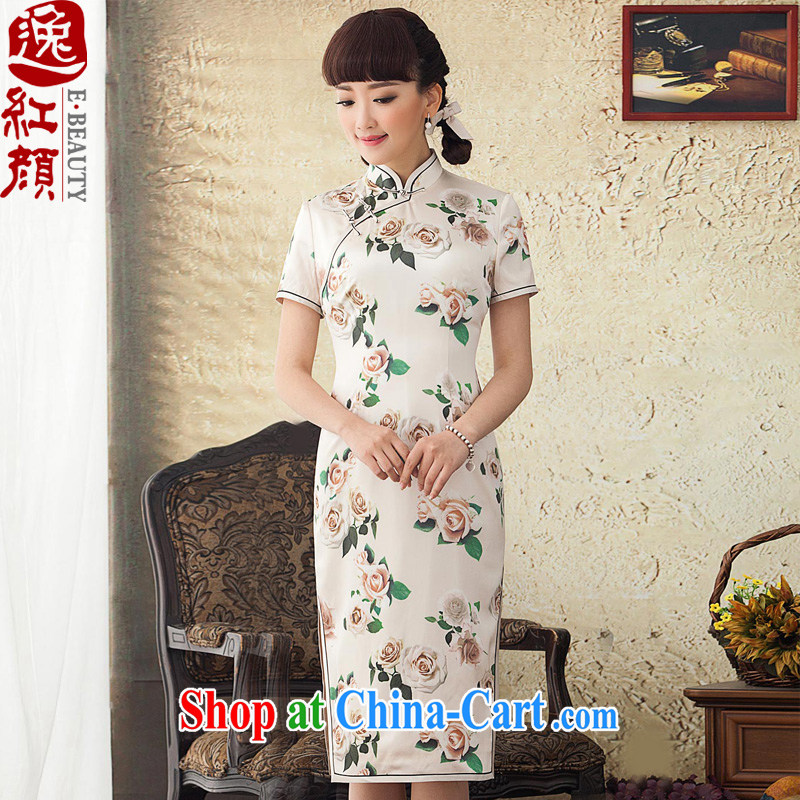 once and for all and fatally jealous poetry about silk long cheongsam improved summer 2015 new spring of Korea cheongsam dress everyday white XL