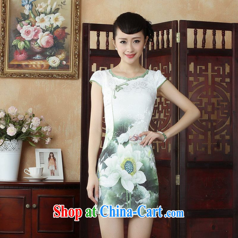 Property is property, qipao Chinese dresses Chinese wind stylish improvements I should be grateful if you green cheongsam dress picture color 2 XL