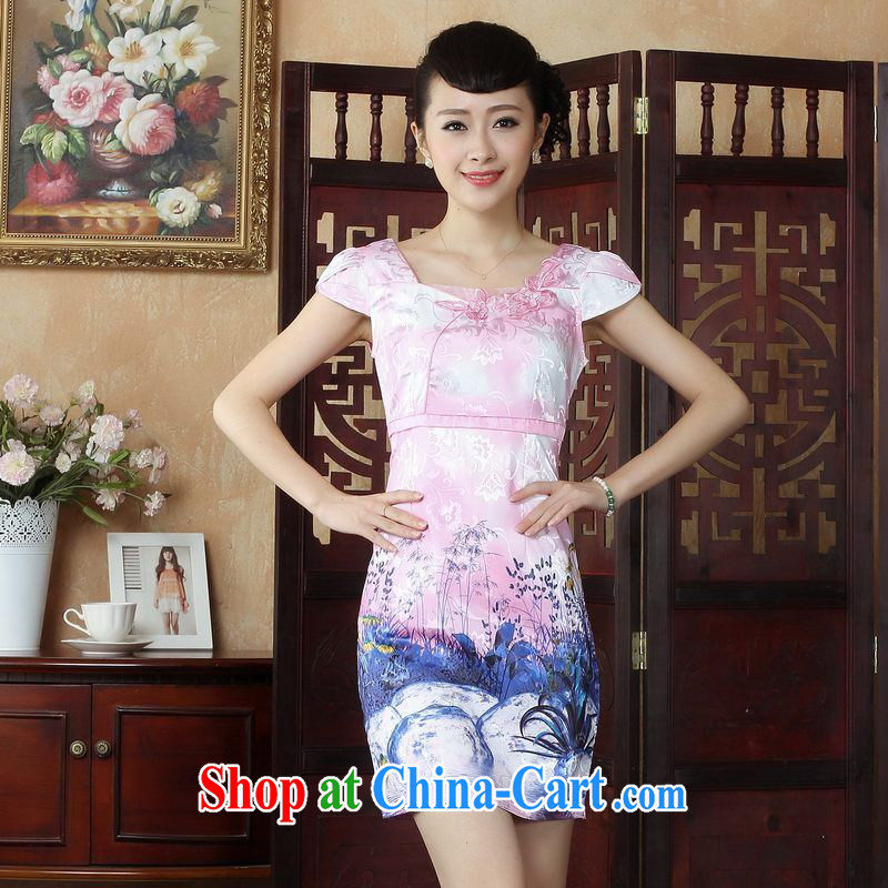 Floor is floor dresses Ms. Tang fitted dresses summer elegant refined embroidery cheongsam dress picture color 2 XL