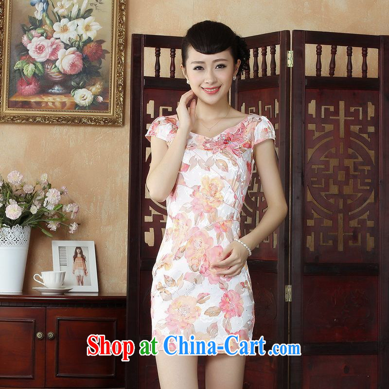Floor is floor Lady Jane, Tang with improved qipao cheongsam dress summer elegant and stylish beauty dresses picture color 2 XL
