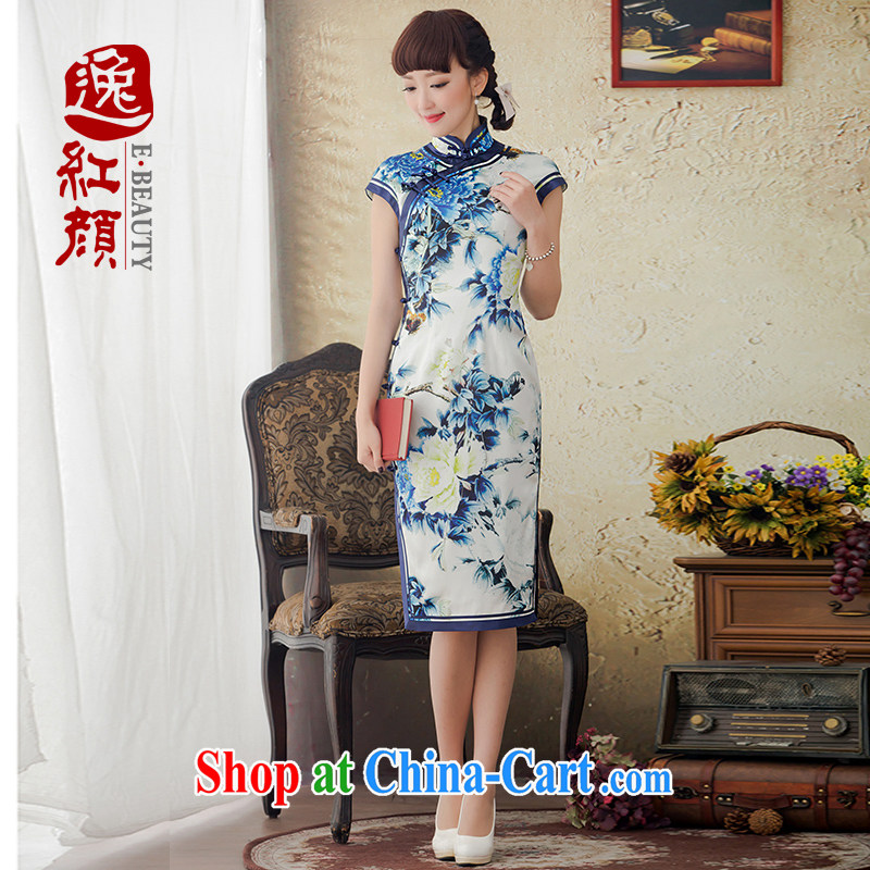 Once the proverbial hero's spirit improved long blue and white porcelain Silk Cheongsam Spring Summer 2015 new Korea cheongsam dress blue 2 XL