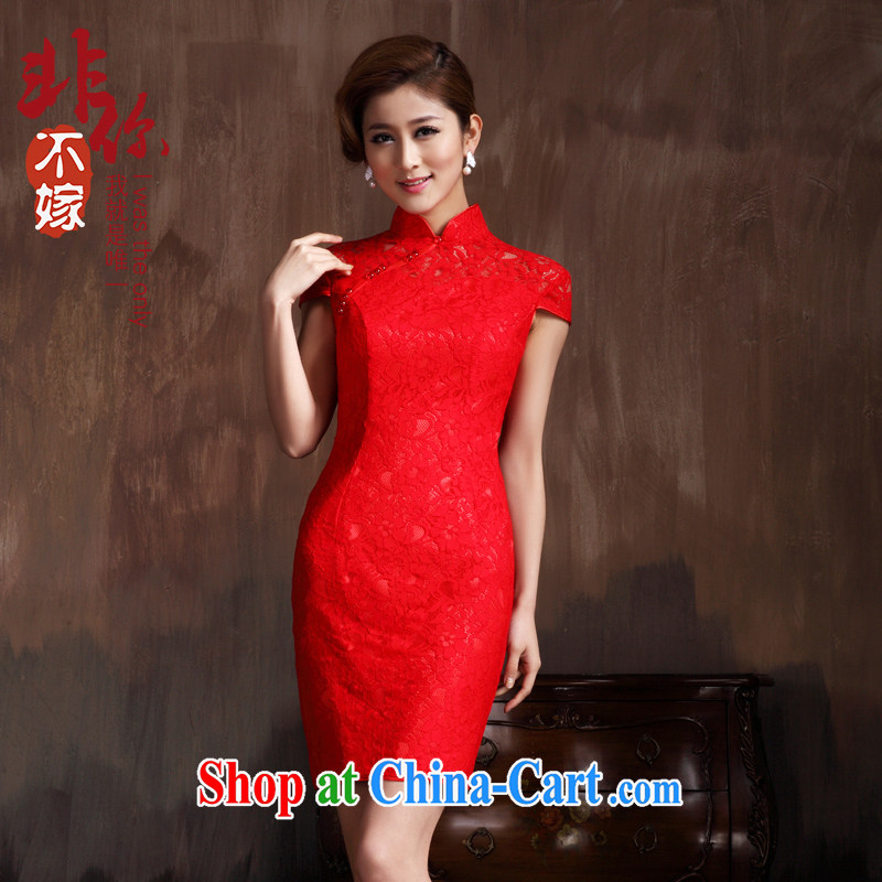 2014 summer retro lace bridal dresses wedding red short lace dresses bridal short dress red 2 XL