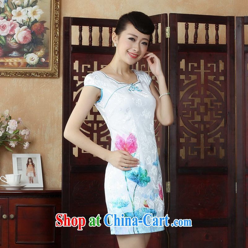Floor is still building summer antique Chinese Chinese cheongsam dress summer improved stylish dresses dress picture color 2 XL