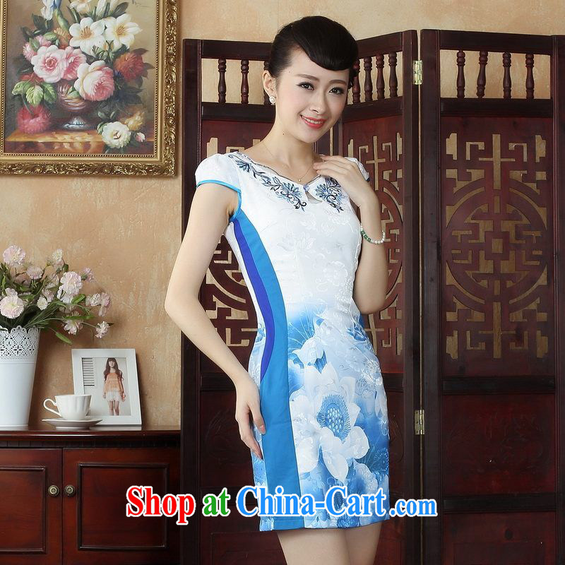 Floor is Floor Chinese Wind and stylish with lotus cheongsam dress retro summer Chinese Lotus dress dress picture color 2 XL