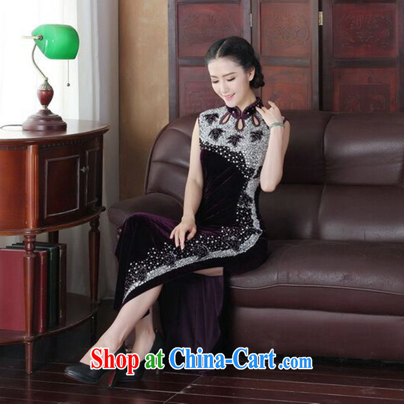 spend the summer short dresses Women's clothes new dinner Silk Velvet Chinese improved manually staple-ju long cheongsam dress such as the color 2 XL