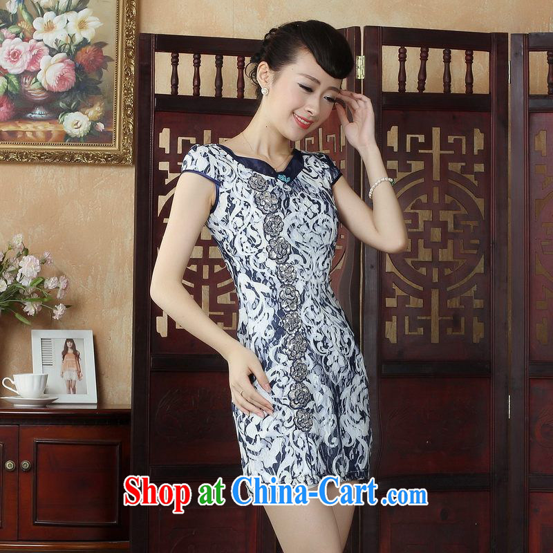 Floor is floor, Lace Embroidery style improved cheongsam dress Chinese Dress summer graphics thin daily short cheongsam picture color M