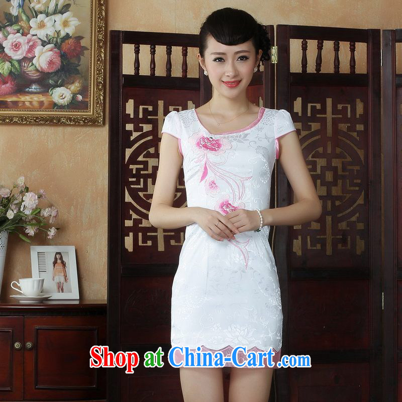 Floor is floor Lady Jane, Jacob embroidery cheongsam improved cheongsam dress summer white exclusive fashion beauty dresses picture color 2 XL
