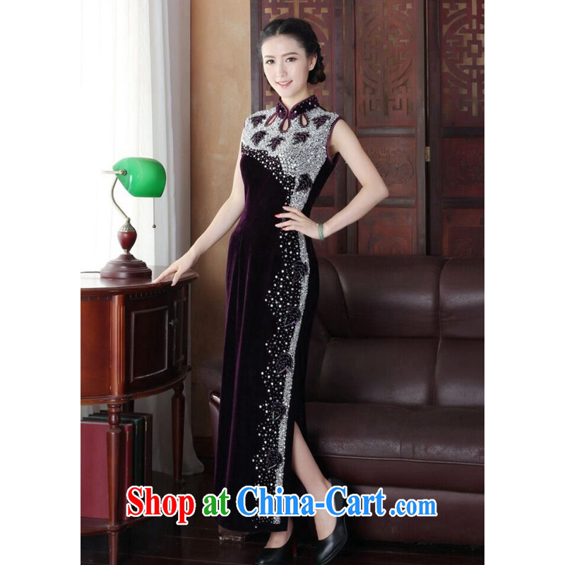 Dan smoke summer short dresses Women's clothes new dinner Silk Velvet Chinese improved manually staple-ju long cheongsam dress such as the color 2 XL