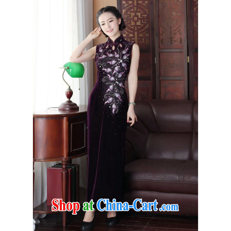 Take the Tang Dynasty-style summer dresses Women's clothes improved version, how long the forklift truck, wool embroidered manually staple Pearl banquet long cheongsam as shown color 2 XL