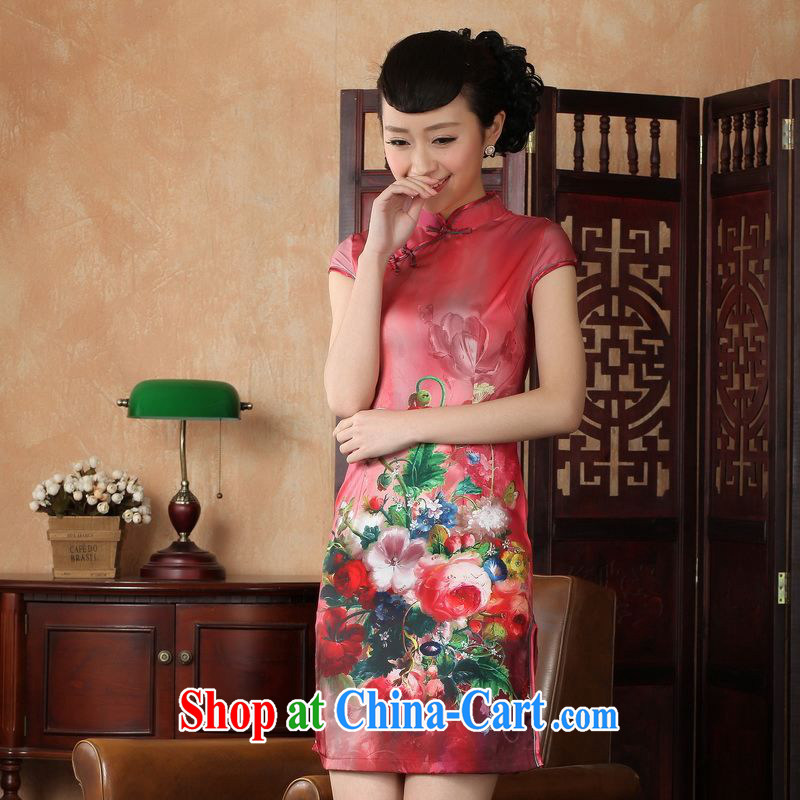 Property is still property, Ms. Tang cheongsam dress with dress improved national wind antique stamp cheongsam dress dress D 0230 2 XL