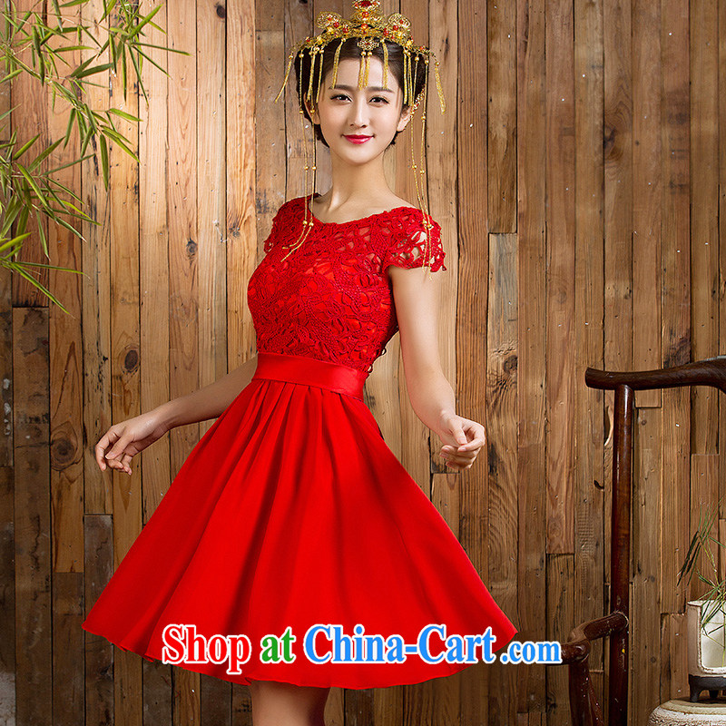 Non-you are not married 2015 new bride's red dress, the Marriage Code toast serving lace dress short skirt short-sleeved short skirts 2XL