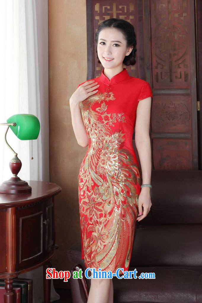 Dan smoke summer short dresses Women's clothes Chinese improved wedding toast clothing retro embroidery flower Peacock short improved cheongsam shown in Figure 3XL pictures, price, brand platters! Elections are good character, the national distribution, so why buy now enjoy more preferential! Health