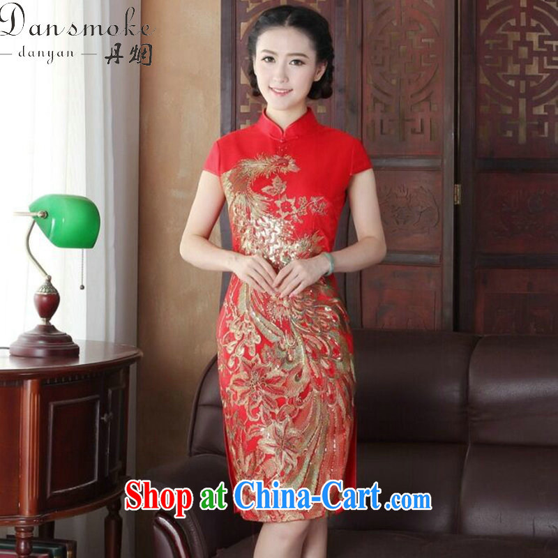Dan smoke summer short dresses Women's clothes Chinese improved wedding toast clothing retro embroidery flower Peacock short improved cheongsam figure 3XL