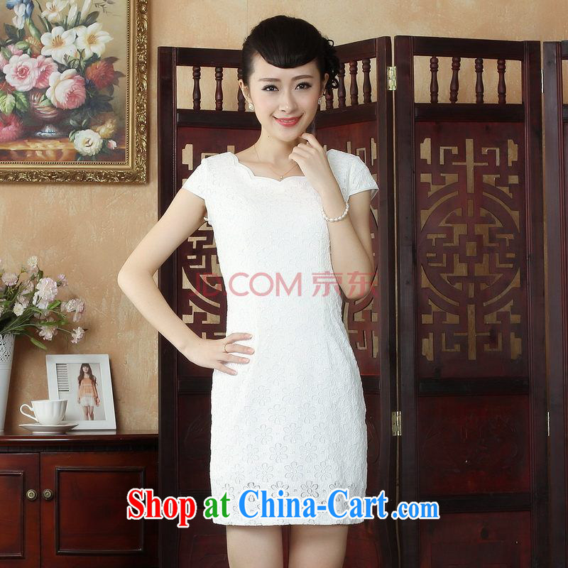The Nigeria Ms. Tang cheongsam with lace cheongsam dress stylish daily short cheongsam dress, picture color XXL