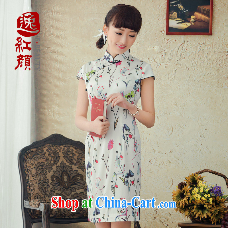 proverbial hero once and for all, Chun silk improved stylish short dresses summer 2015 new spring outfit of dress everyday white XL