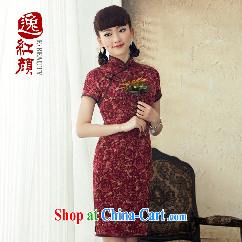 Once birds fatally jealous sound silk improved short dresses 2015 New Spring Summer Day Korea cheongsam dress scarlet 2XL