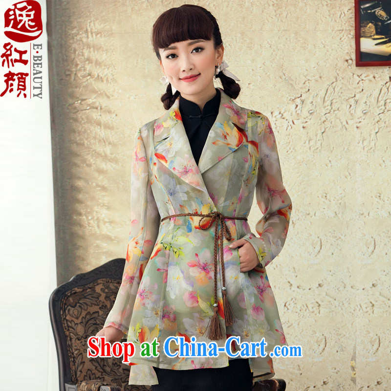 once and for all fall fatally jealous round original Ethnic Wind stamp-yi girls spring and summer 2015 new, long, long-sleeved jacket suit XL