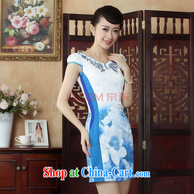 Nigeria, the Chinese Wind and stylish with lotus cheongsam dress retro summer Chinese Lotus dress dress picture color XXL