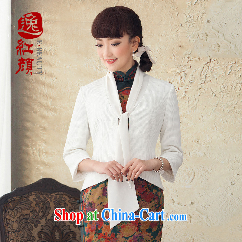 proverbial hero once and for all, painting new improved long-sleeved T-shirt dresses Ethnic Wind Jacket Chinese Tang Women's clothes spring and summer white XL