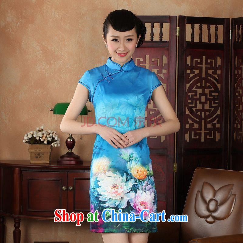 Nigeria, with Ms. Tang cheongsam dress summer improved national wind antique stamp cheongsam dress dress D XXL 0231