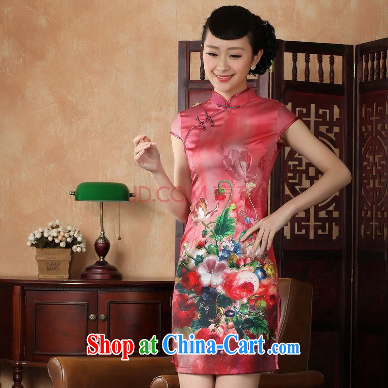 Nigeria, the cheongsam dress, Ms. Tang fitted dresses improved national wind antique stamp duty cheongsam dress dress D XXL 0230