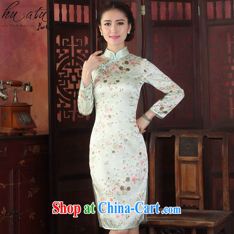 Take the cheongsam dress Chinese Chinese improved, LED light sauna in Silk Cheongsam cuff antique silk long-sleeved robes the green flower 2XL