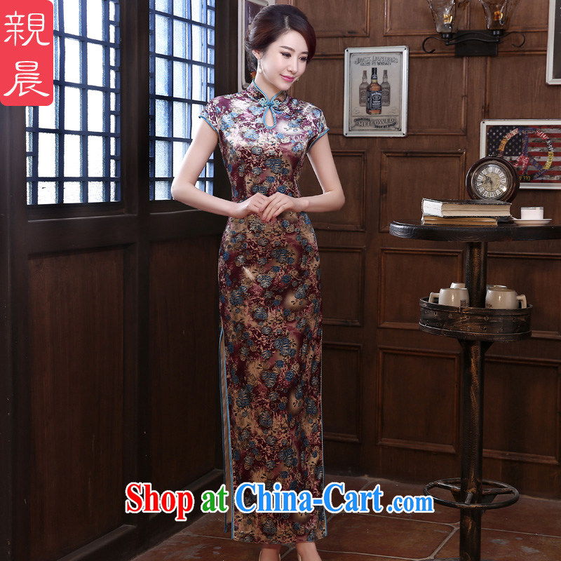 pro-am 2015 new high quality velour cheongsam dress spring and summer retro long day dresses skirts improved stylish long 2XL
