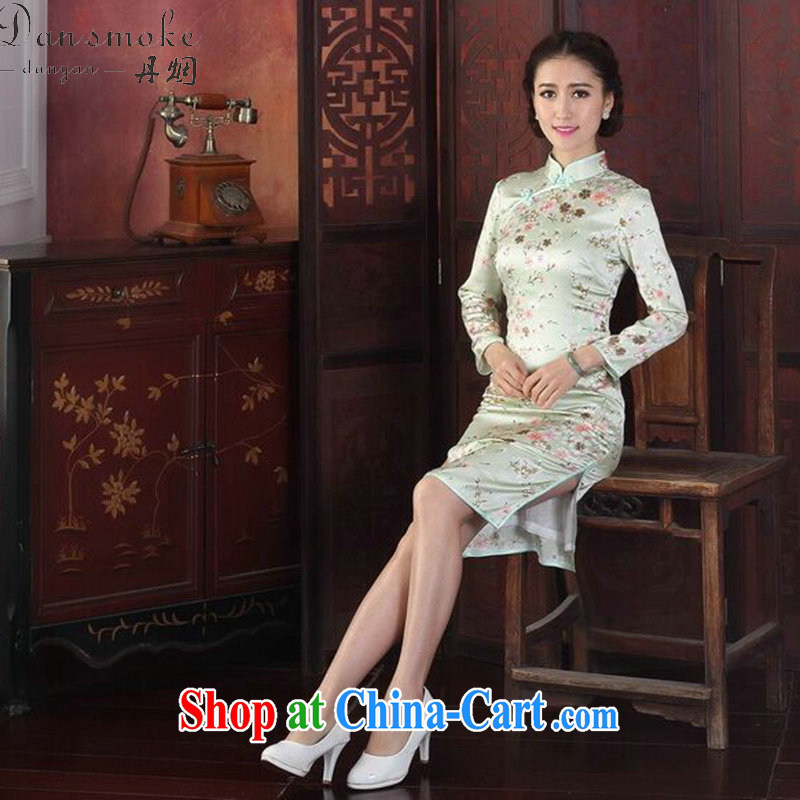 Dan smoke cheongsam dress Chinese Chinese improved, LED light sauna in Silk Cheongsam cuff antique silk long-sleeved robes the green flower 2XL