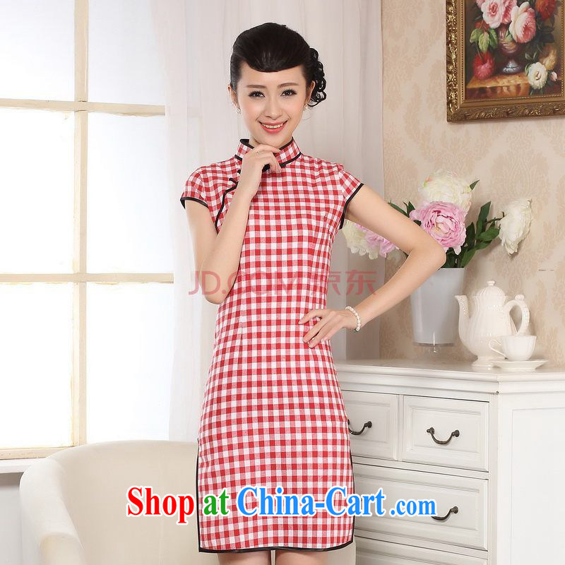 For Pont Sond� Diane cotton the retro plaid short-sleeved qipao improved daily republic linen clothes summer dresses skirts D XXL 0247