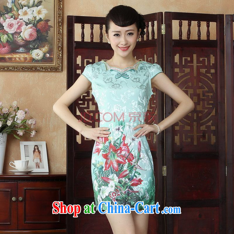 For Pont Sondé Ms. Diane cheongsam Chinese dresses summer improved national wind antique stamp duty cheongsam dress dress picture color XXL