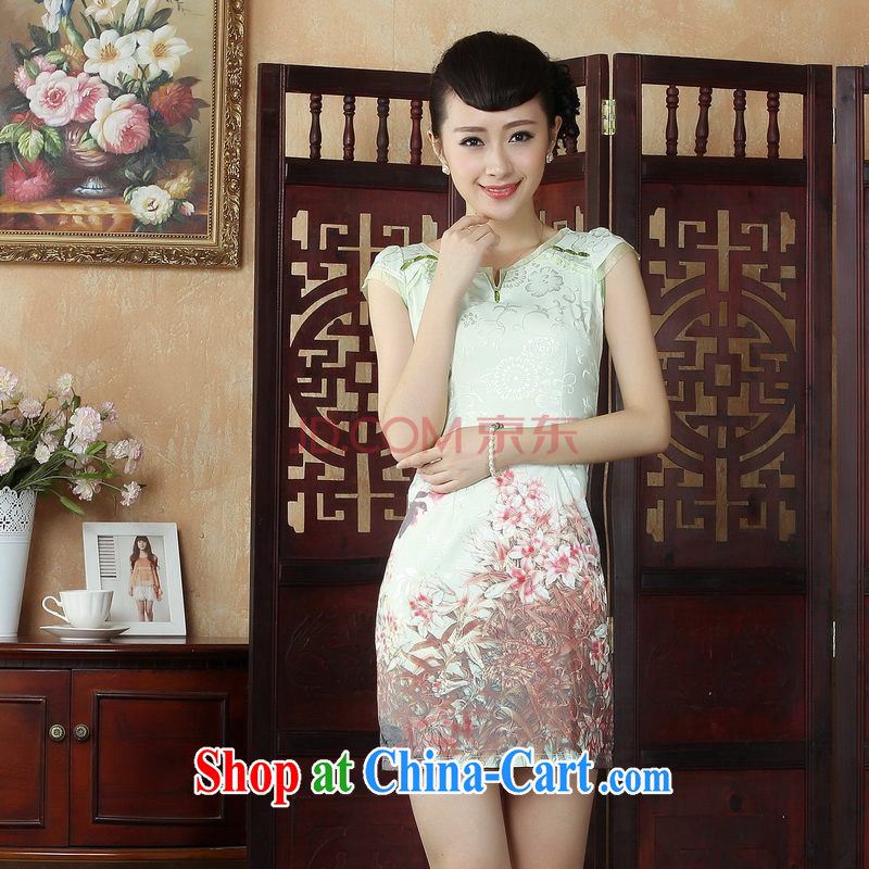 For Pont Sondé Ms. Diane Tang cheongsam dress summer improved national wind antique stamp cheongsam dress dress picture color XXL