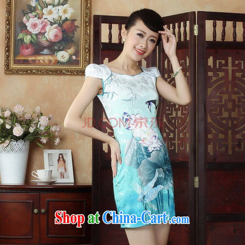 For Pont Sond茅 Diana Lady Jane, Tang with improved qipao cheongsam dress summer elegant and stylish beauty dresses picture color XXL