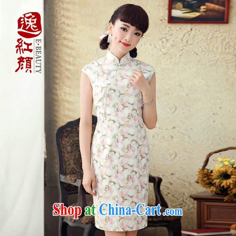 once and for all and fatally jealous chestnut flower stamp duty improved cotton cheongsam dress 2015 new stylish spring and summer retro cheongsam dress suit M